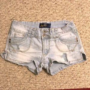 Pants - Light Blue Ripped Jean Shorts